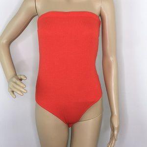 Wild Fable Orange Strapless Bodysuit